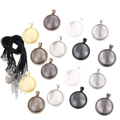 (SUPVOX 120Pcs Round blank pendant trays glass cabochons with leather rope)