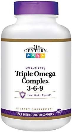 21st Century Triple Omega Complex 3 6 9 Enteric Coated Softgels, 180 Count Bottle