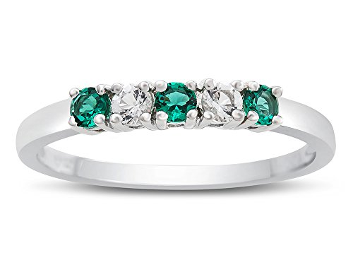 Finejewelers Sterling Silver 2.5mm Color and White Topaz Band Ring