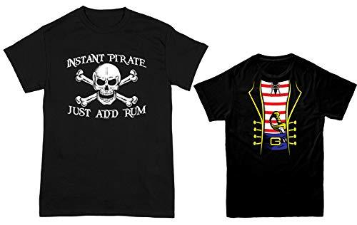 HAASE UNLIMITED Instant Pirate, Just Add Rum/Pirate Costume 2-Pack Youth & Men's T-Shirt (Black/Black, Men's Medium/Youth Medium) ()