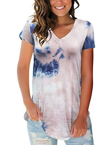 (Womens Casual Short Sleeve Shirts V Neck Tie Dye Tops)