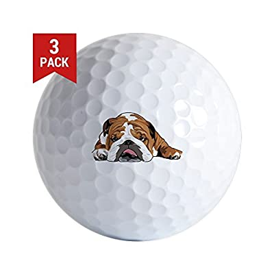 CafePress - Teddy The English Bulldog Golf Ball - Golf Balls (3-Pack), Unique Printed Golf Balls