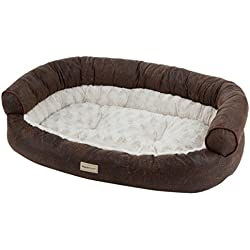 PoochPlanet SlumberSalon Couch Style Pet Bed, Large, Brown