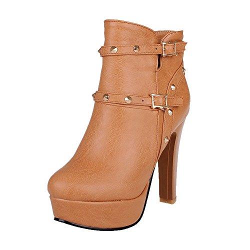 AgooLar Damen Blend-Materialien Rund Zehe Niedrig-Spitze Hoher Absatz Stiefel, Gelb, 38