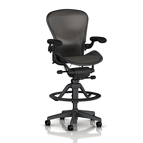 Herman Miller Aeron Basic Chair (Herman Miller Classic Aeron Work Stool: High Height Stool-BASIC-Height & Tilt Tension Adjustments-Fixed Arms-Standard Carpet)