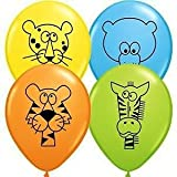 """Colourful Wild Jungle Animal Latex 11"""" Balloons - A Selection of a Leopard, Tiger, Zebra and Bear - Ideal for kids birthdays, Jungle themed party (Pack of 15)"""