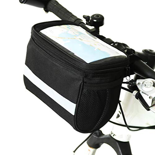 (TRADERPLUS Bicycle Basket Handlebar Bag with Sliver Grey Reflective Stripe for Mountain Bike Outdoor Activity Cycling Pack Accessories 3.5L)
