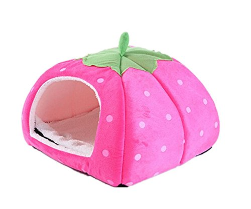 Gracefur Pet Cave Cute Strawberry Shape Dot Pet Nest Soft Removable Self Warming Pet Bed for Dogs & Cats Rose S