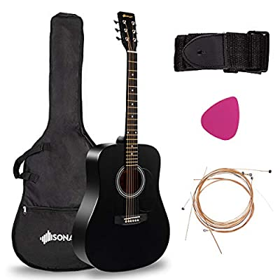 "Sonart 41"" Full Size Beginner Acoustic Guitar, Professional Customization Structure Steel String W/Case, Shoulder Strap, Pick, Extra Strings for Kids, Starters"
