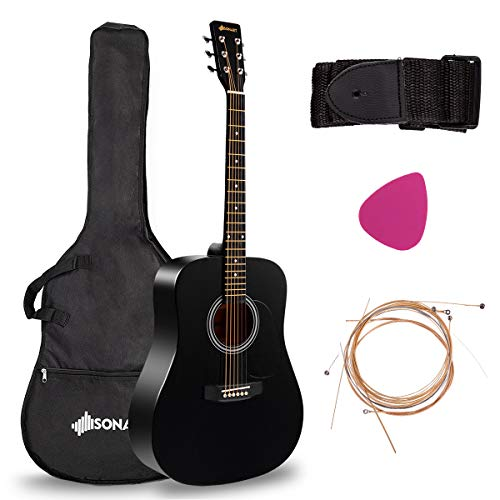 "Sonart Full Size Acoustic Guitar, 41"" Wooden Structure Steel String W/Case, Shoulder Strap, Pick, Extra Strings for Beginners, Starters, Black"