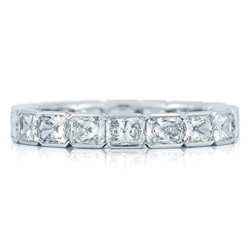 2.50 CT Radiant Cut Ideal DIAMOND Eternity Band Platinum Ring.