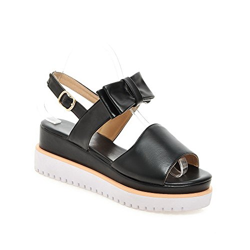 AgooLar Women's Buckle Kitten Heels PU Solid Open Toe Sandals Black TiBk9ZXjOZ
