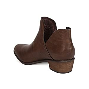 Breckelle's GA71 Women Leatherette Pointy Toe Split Side Stacked Heel Bootie - Brown (Size: 6.0)