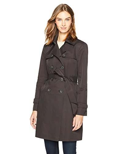 Haven Outerwear Women's Double-Breasted Trench Raincoat, Black, Small