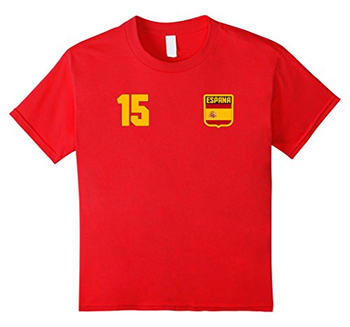 unisex-child ESPANA T-shirt Spanish Spain Tee Retro Soccer Football 6 Red