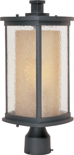 (Maxim 85650CDWSBZ Bungalow EE 1-Light Outdoor Pole/Post Lantern, Bronze Finish, Seedy/Wilshire Glass, GU24 Fluorescent Fluorescent Bulb , 40W Max., Damp Safety Rating, Standard Dimmable, Glass Shade Material, 1344 Rated Lumens)