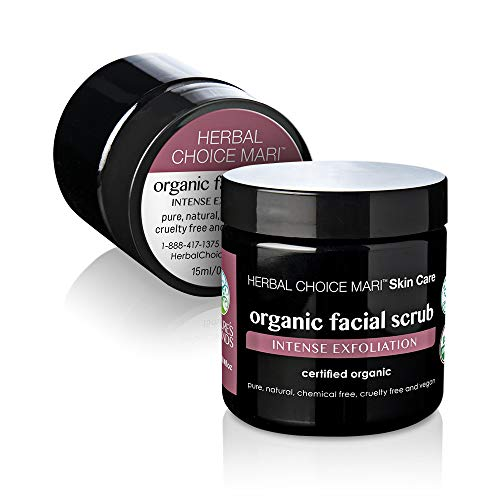 Herbal Exfoliator (Herbal Choice Mari Organic Facial Scrub & Face Mask Exfoliator with Sea Salt Shea Butter Olive Oil Brown Sugar and Grape Seed for Dry Skin, Wrinkles, Acne Scars. 3.4oz)