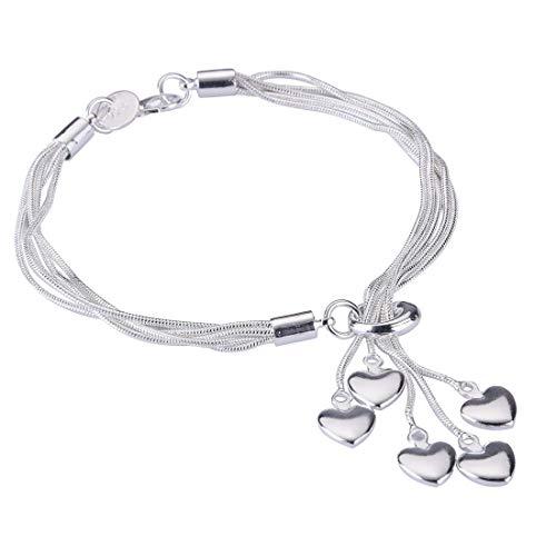 """Women Link Bracelet, 925 Sterling Silver Five-line Chain With Five-Heart Bracelet7.5""""7.9"""" 8.3"""""""