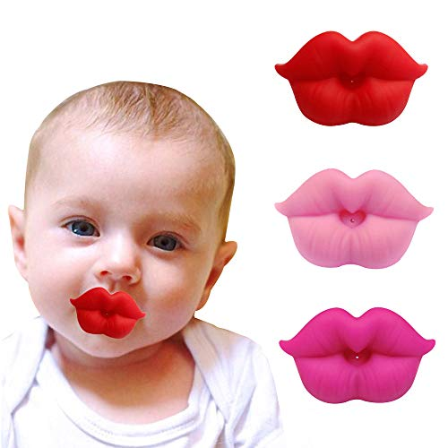 3PCS Soft Silicone Cute Pacifier Design with Kiss Lip, BPA Free, Newborn Infant Pacifier, Great Gift for Baby Shower