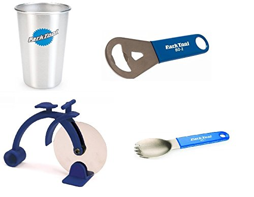 Park Tool Pizza & Beer Gift Set: Pizza Cutter, Spork, Bottle Opener, Stainless Steel Cup