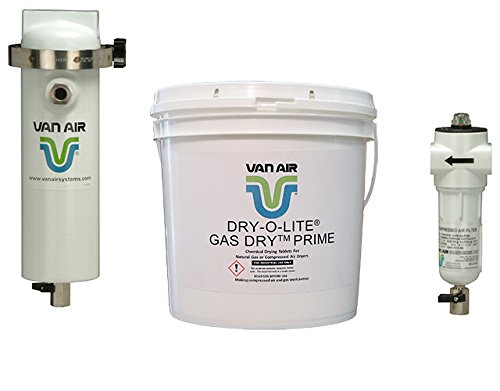White No Power Requirement//Moving Parts Includes 1 /µm F200 Series After-Filter and 3 50 lb Pails of Dry-O-Lite Desiccant 100 CFM Pack of 5 Outdoor or Indoor Installation Van Air Systems 80-1501 D12 Compressed Air Dryer