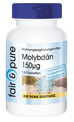 Molybdän 150µg Natriummolybdat - 120 Tabletten - frei von Hilfs- und Zusatzstoffen, vegetarisch