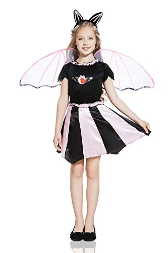 Kids Girls Bat Girl Costume Little Vampiress Vamp Leather Wing Outfit & Dress Up (6-8 years, Black/Rose)
