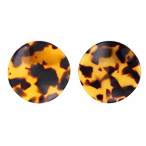 FAMARINE Tortoise Shell Stud Earrings, Wavy Statement Mottled Acrylic Resin Disc Costume Jewelry for Women