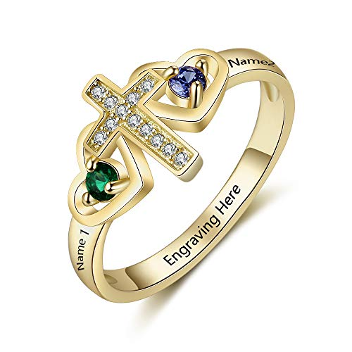 FenFang Personalized Mothers Cross Rings for Women with 2 Simulate Birthstones Cross Name Rings Promise Name Rings for Mothers Day (7)