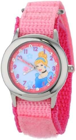 Disney Kids' W001040 Cinderella Glitz Stainless Steel Time Teacher Watch With Pink Nylon Band