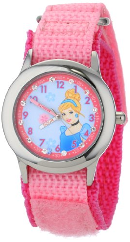 Disney Kids' W001040 Cinderella Glitz Stainless Steel Time Teacher Watch With Pink Nylon Band