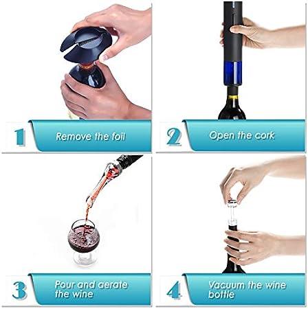 WIWONEY Abrebotellas de Vino eléctrico, Juego de sacacorchos de Vino automático Recargable con Cable Micro USB, aireador dosificador, tapón de vacío y Cortador de precinto, Color Negro Mate