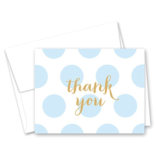 50 Cnt Polka Dots Gold Baby Shower Thank You Cards (Blue) ()