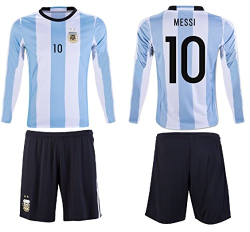 Fan Kitbag Lionel Messi #10 Argentina Youth Kids Soccer Jersey ✓ Shorts ✓ Picture Bag ✓ ✓Premium Soccer Gift by YL 10-13 Years, Jersey + Shorts ONLY (No Bag) ()