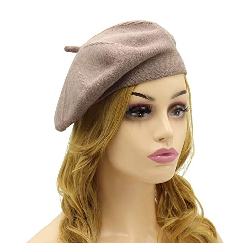 French Beret Hat,Reversible Solid Color Cashmere Beret Cap for Womens Girls Lady Adults (Light-Coffee1)