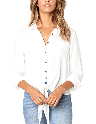 - Semfri Womens Long Sleeve Button Down Tie Front Shirt Chest Pocket V Neck Blouse Tops(M,White)