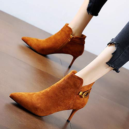 LBTSQ-Mode-Joker Gürtel 6CmWies Kopf Nackte Knöchel Gut Bei Fuß Fuß Fuß Mittlere Hochhackigen Schuhe Kurze Stiefel. b8a612