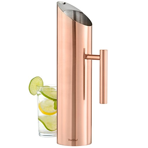 - VonShef Stainless Steel with Copper Finish Water Pitcher with Ice Guard, 60 Oz
