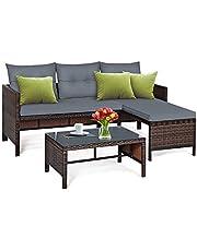Tangkula Patio Corner Sofa Set 3 Piece, Outdoor Rattan Sofa Set, Includes Lounge Chaise, Loveseat & Coffee Table, Patio Garden Poolside Lawn Backyard Furniture (Gray)