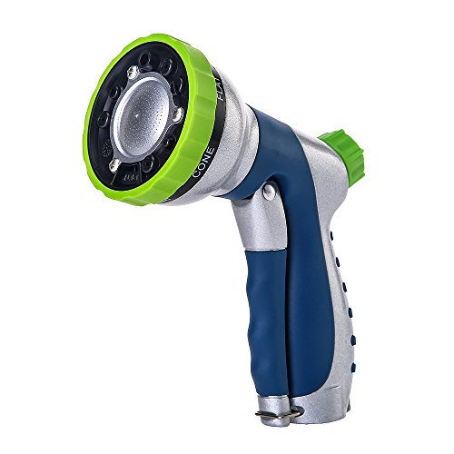 Greenmount Patent Adjustable Garden Hose Nozzle, Anti-leak Heavy Duty Spray Nozzle with High Pressure, Prefect for Patio, Lawn, Garden Watering and Car Wash ()