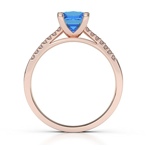 Or Rose 18carats 1CT G-H/VS sertie de diamants Coupe Princesse Topaze bleue et bague de fiançailles Agdr-1211