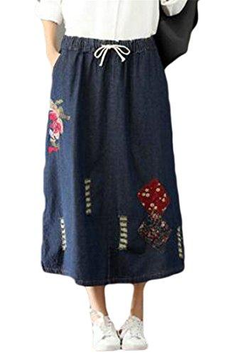 Etecredpow Women's Big Hem Drawstring Elastic Rise Washed Embroideried Denim Skirts Blue X-Large ()