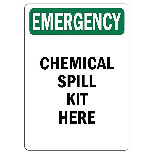 Emergency Sign - Chemical Spill Kit Here |  Label Decal Sticker Retail Store Sign Sticks to Any Surface 8