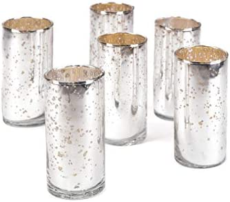 Serene Spaces Living Set of 6 Antique Silver Cylinder Vases, Vintage-Style Handmade Mercury Glass Finish for Weddings, Parties, Events, Measures 4.5″ Tall and 2″ Diameter