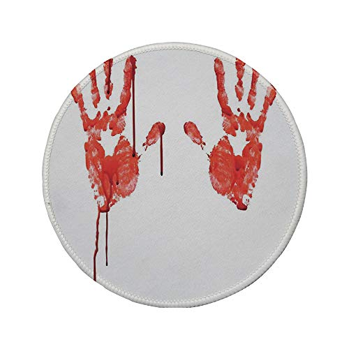 (Non-Slip Rubber Round Mouse Pad,Horror,Handprint Like Wanting Help Halloween Horror Scary Spooky Flowing Blood Themed Print,Red)