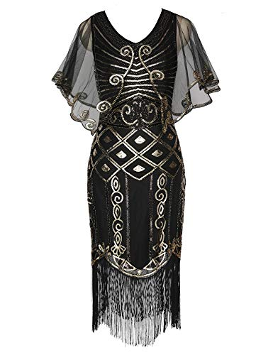 Sequined with Deco Dress Flapper Cape Dress 1920s Roaring Shawl Art Dress Deco Gatsby Black 20s Beaded qPtEnWWR