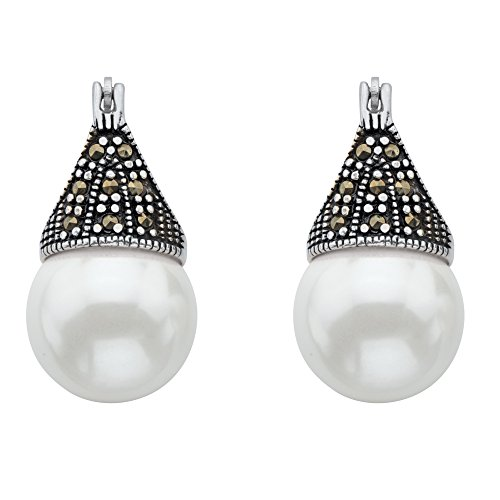 Pierced Lucite Earrings (Simulated White Pearl and Marcasite Antiqued .925 Sterling Silver Teardrop Earrings)