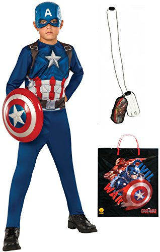 Rubie's Costume Captain America: Civil War Captain America Costume & Accessories Bundle, Multicolor, (Kids Captain America Costume With Shield)