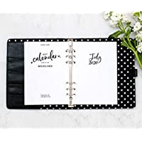 "July 2020 - June 2021 Academic HORIZONTAL Calendar for A5 Planners, fits Filofax, Kikki K, Carpe Diem Planners, 6 Ring binder, 5.8"" x 8.3"" Whimsy (Planner Not Included)"
