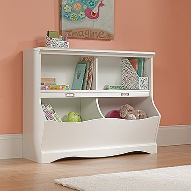 Bookcase Toy Chest - Soft White Finish